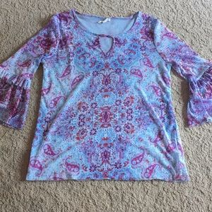 Lined long sleeve blouse